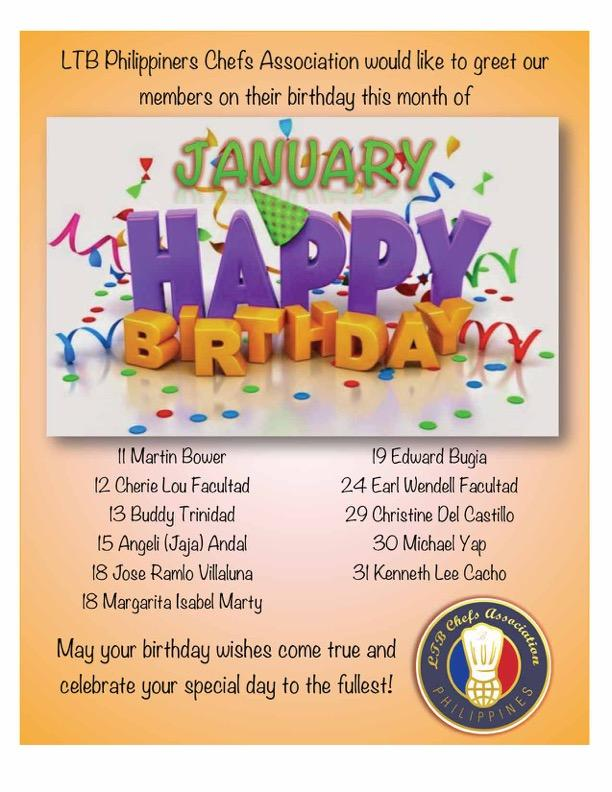 LTB Philippines Chefs Association Wishes To Greet Our January Birthday Celebrants A Very Happy